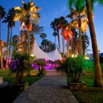 Vintage Carnival corporate business event private party planner design custom large events lighting circus tent on a pathway of palm trees