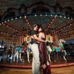 Carousel Wedding social private event party planner design party merry go-round outdoor boardwalk couple bride groom bridal love