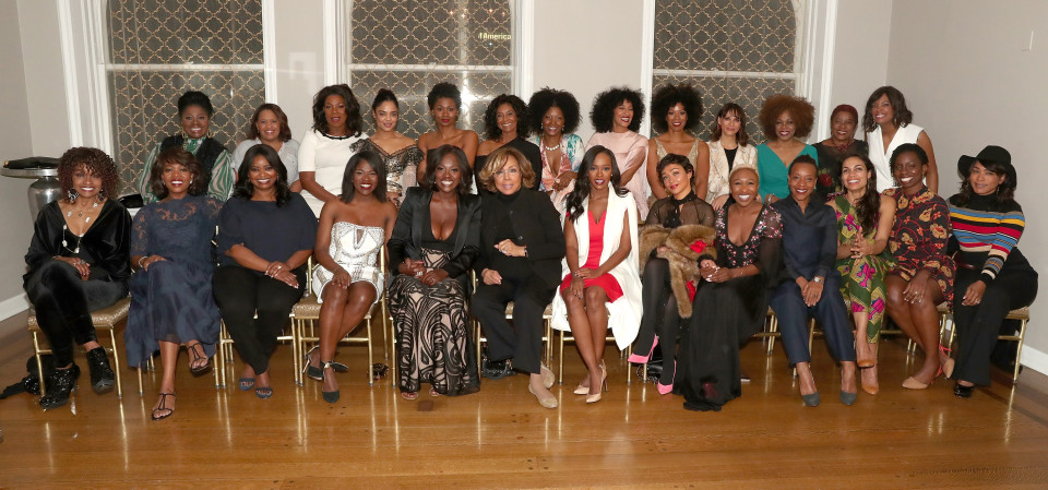BEVERLY HILLS, CA - FEBRUARY 22: Back Row (L-R): LaTanya Richardson, Chandra Wilson, Lorraine Toussaint, Tessa Mae-Thompson, Emayatzy Corinealdi, Yolanda Ross, Tracee Ellis Ross, Kim Wayans, Rashida Jones and Loretta Devine Front Row (L-R): Beverly Todd, Alfre Woodard, Octavia Spencer, Edwina Findley, Viola Davis, Diahann Carroll, Aja Naomi King, Ruth Negga, Cynthia Erivo, Marianne Jean-Baptiste, Rosario Dawson and Adepero Oduye attend the 8th Annual Oscar's Sistahs Soiree Presented by Alfre Woodard and Farfetch at the Beverly Wilshire Four Seasons Hotel on February 22, 2017 in Beverly Hills, California. (Photo by Todd Williamson/WireImage)